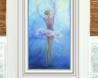 Painting,Ballerina Painting,contemporary, romantic, handmade, home office decor,oil painting dancer ,dance , moonlight,buttered painting