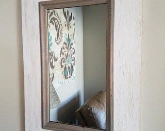 Rustic White Mirror w/ Gray Decorative Moulding