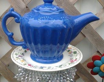 Teapot Garden Stake - Whimsy Yard Art - Blue Garden Decor
