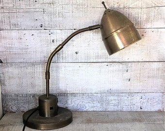 Task Lamp Workbench Lamp Brass Gooseneck Lamp Industrial Table Lamp Brass Workbench Light Mid Century Adjustable Lamp Industrial Decor