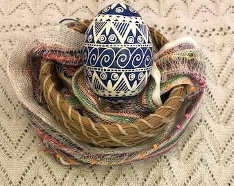 Pysanky Pysanka Ukrainian Blue on White Chicken Egg