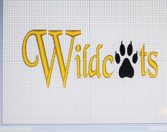 Machine Embroidery Wildcats - Wilcats Embroidery Monogram Font - Mascot Embroidery File - FOUR Sizes