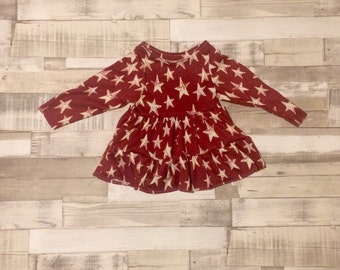 Star Print Baby Dress | Burgundy Baby Girls Dress | Ra-ra Dress | Long Sleeved Dress | Jersey Dress