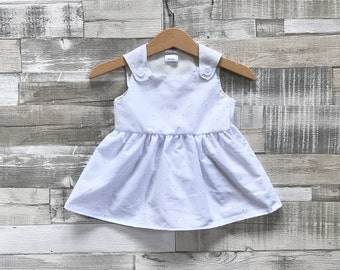 White Broderie Anglaise Dress | Baby Embroidered Dress | White Dress | White Pinafore Dress | Baby Girls White Sundress | Baby Summer Dress