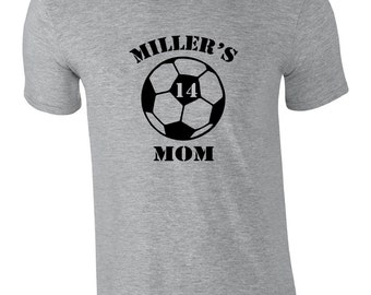 Custom soccer mom shirt with player's name and number. Personalized soccer mom tshirt.  Soccer player shirt for mom or dad. Soccer dad tee