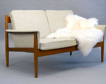 SALE - Grete Jalk for France & Son Teak and Wool Settee or Loveseat