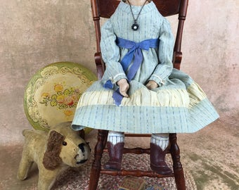 Miss Nella Tottenham, papier mache and cloth folk artist doll, artist doll, SOLD