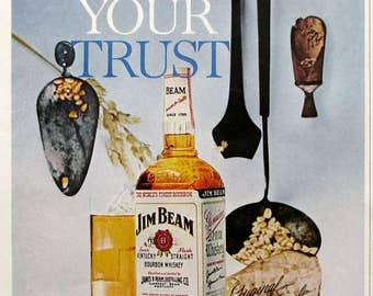 1963 Jim Beam Whiskey Ad - Kentucky Straint Bourbon Whiskey Advertising - 1960s Alcohol Ads