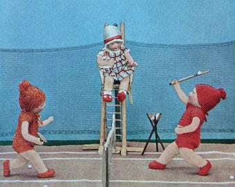 Rare-1930-Book Plate-Katy Kruse-Kathe Kruse-Dolls-Playbook-Tennis-Matted-Nursery-Home Decor