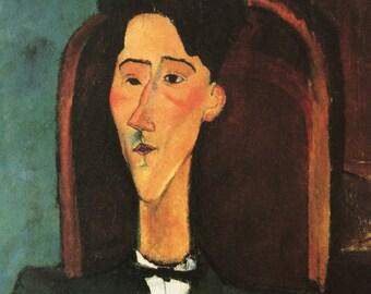 Amedeo Modigliani-Modigliani-Portrait-Jean Cocteau-Vintage-Postcard-Italy-Home decor