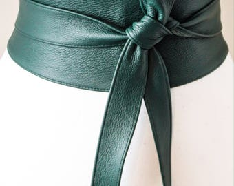 Green Obi Belt, Leather Belt, Waist Tie belt,  Leather Obi Belt, Plus Size Accessory ,  Emerald Green Belt, Green Wrap Belt