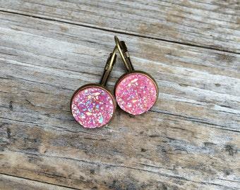Pink Druzy Earrings, Faux Druzy Earrings, Bronze Druzy, Leverback Earrings