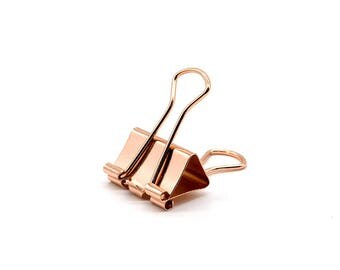 Mini Rose Gold Binder Clips | 6Pc Pink Copper Paper Clips | Stationery Journal Scrapbook Clasps | Folder Accessories School Office Supplies