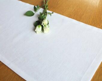 White linen table runner , wedding table runner, kitchen and dining tableware, home decor