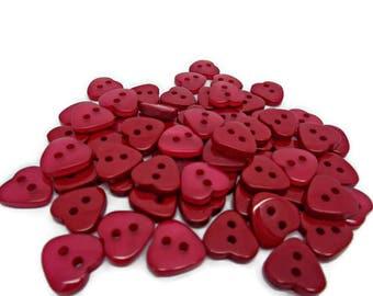 20 red heart buttons, tiny heart buttons, 12mm heart buttons, valentine buttons, sewing buttons, novelty buttons, sewing supplies,