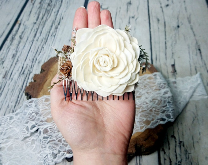 Brown burlap hair piece HAIR COMB ivory sola flower tiny cones rustic woodland wedding, bridal accessory, dried flowers, delicate head piece