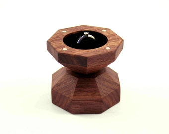 Engagement ring box / Walnut wood ring box / Diamond box