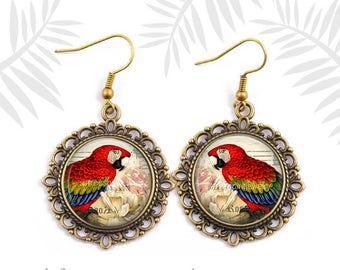 Red Parrot Earrings, Tropical Bird Earrings, Parrot Neckace, Red, Boho Jewelry, Tropical Jewelry, Gift for women, Avion Gift