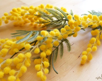 Yellow Acacia Blossoms – Mimosa Flower – silk flower – artificial flower – headpiece – bouquet – wedding – decoration  (FB47-1)
