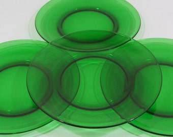 RESERVED FOR ANNE 4 Vereco plates, green glass plates, dinner plates, tempered glass, emerald green, French vintage, retro dining, 1970's,