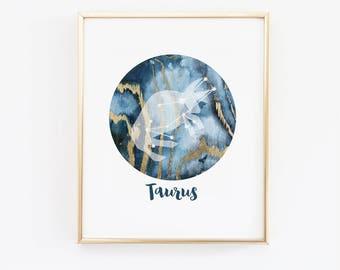 Zodiac Wall Art, Taurus star print, Zodiac Art Print,  Astrology Print Wall, Taurus, Horoscope, Taurus Star,Constellation, May Birthday Gift