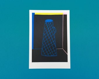 A4 risograph of a blue vase with dark background