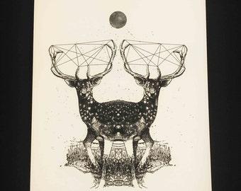 Deer Twin, dreamlike illustrazione fine art stampata su carta martellata avorio 300gr.