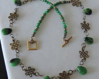Chrysoprase Necklace, Green Briolette Necklace,