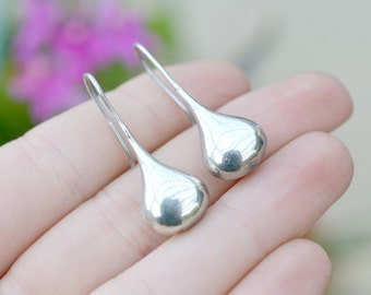 Sterling Silver Modernist Teardrop Drop Dangle Earrings