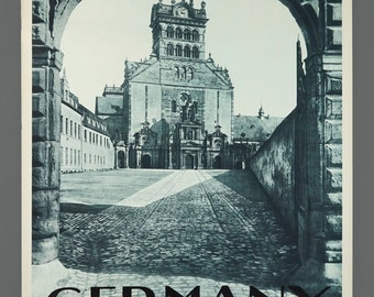 1960s German Along the Moselle Trier St. Matthew's Abbey Travel Poster 19.5 x 29 Vintage Poster Original