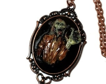 Zombie Walker Cameo Necklace, The Walking Dead Cameo, Zombie Necklace