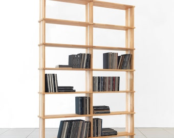"Bookshelves NIKKA WOODY  Modular wooden bookcase Totally SOLID Wood Shelves. Wood Sidepanels cm. 180 x 258 h x 30 - (70,9"" x 101,6"" x 12"")"