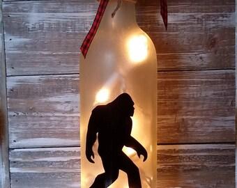 Sasquatch Lighted Wine Bottle/Lamp/Decor/Big Foot/Bedroom/Bar/Gift