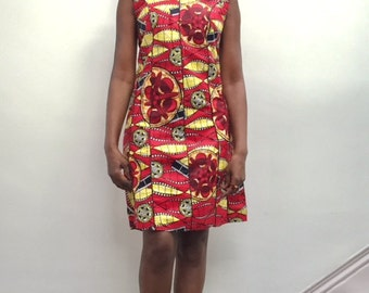 African Print Dress Hand Made  Hope & Lily by, short Dress Sleeveless Multi coloured Size 12