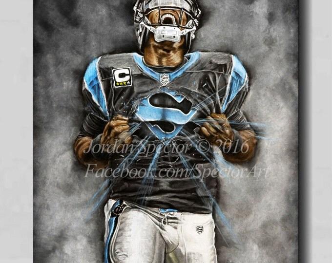 Carolina Panthers - Cam Newton - Canvas Print - Wall Art - Man Cave - Panthers Decor - Dorm Decor - Panthers Gifts - Super Cam - Panthers