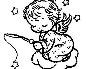 8 Baby Angels Hand Embroidery Iron On Transfers Pattern - Vintage PDF Instant Download ePattern