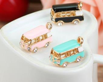 Cute enamel bus charm with rhinestones, RV camper charm, planner charm, pendant, jewelry,