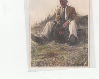 Color Tipped C1930s Man Wearing Jacket&Tie Sitting Outdoors With His Jacket And Tie-Excellent Rendering