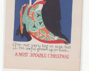 Volland Antique Postcard Girl In Kimono Carries A Candle Bright Christmas PC