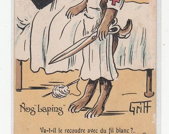 Red Cross Nurse Rabbit Bunny Hare World War I WWI Checking A Rabbit Patient 1918 A/S Griff