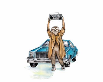 Say Anything sloth painting, sloth art, Lloyd Dobler fan art, 80's movie poster, Sloth Anything, boom box art, funny art