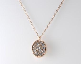 Champagne Diamond Necklace, Grey Rough Diamond Necklace, Gold Oval Necklace, Simple Diamond Necklace