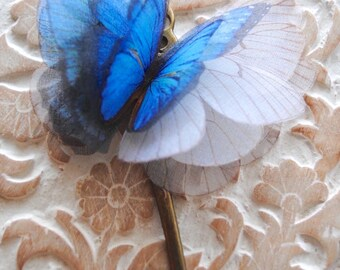 Blue Butterfly wings/ Hair Accessory/ Organza Butterflies/ Bridal Hair Piece/ Butterflies/ Bridal Hair jewelry/ Bridal Hair Pins/ Lamarquesa