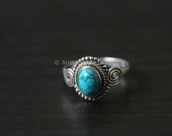 Turquoise Ring oval , Blue Ring, Silver ring, 925 Silver ring