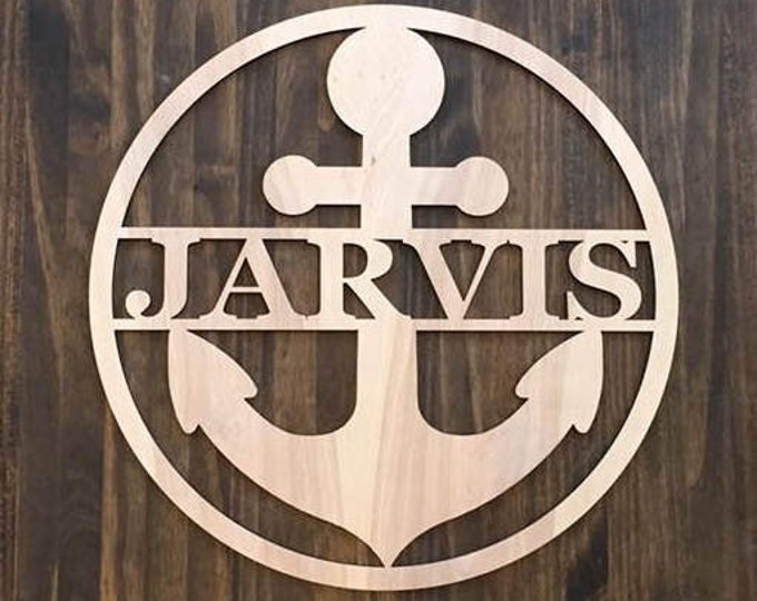 "24"" Wood Anchor Circle Shape Last Name Family Laser Cutout Custom Unfinished"