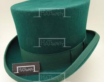 VINTAGE Wool Felt Formal Tuxedo Topper Top Hat for Children / Kids - Green