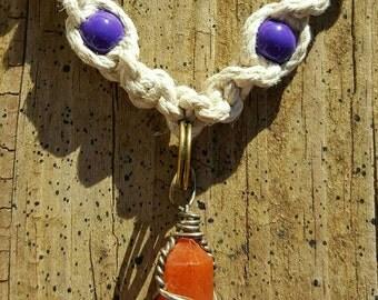 Handmade Wire Wrapped Orange Calcite Chakra Hemp Necklace