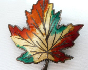 Vintage Sterling Silver and Enamel Maple Leaf Brooch Pin Maple Leaf Brooch Pin in Fall Colors