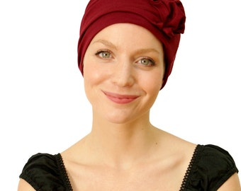 Deep Red / Wine stylish chemo headwear | hats for womens hair loss | handmade pretty chemo cap | hats for cancer patients - sizes available