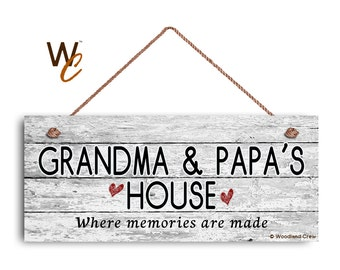 "Grandma and Papa's House Sign, Where Memories Are Made, Distressed Style, Gift For Grandparents, 6"" x 14"" Sign,"